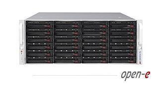 DSS-3400 Дисковый массив SuperMicro 19' 4U Unified Storage (NAS+iSCSI+FC), 8Gb read cache (up to 32Gb), 36 hot-swap SAS/SATA drive bays 128 HDDs, using SJ-445HE expansion units), 1024Mb flash protected write cache, 2xGbit (optional up 10x1Gbit, 4x10Gbit Ethernet, 4xFC-8Gbit), 2xPSU, Remote Volume Mirroring, iSCSI Failover, Open-E DSS V7, 4TB storage license 3400 Super Micro 19 (NAS SCSI FC Gb 32 hot swap SAS SATA HDDs SJ 445 HE units 1024 Mb Gbit 10 Ethernet PSU Mirroring Failover Open TB xGbit x1 10x 1Gbit x10 4x 10Gbit xFC 4xFC 8Gbit xPSU 2xPSU V7