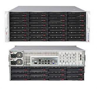 SYS-5048D-E1R36 SuperServer SYS-5048D-E1R36, 19' 4U, 1 x INTEL LGA 1050, 2x PSU, up to 32GB DDR3 RAM, 36 hot-swap drive bays, SAS HBA/RAID controller, GbE, IP-KVM w/dedicated LAN, video, 1xPCI-E (x8 in x16), (x8), (x4 x8), Black SYS 5048 Super Server 19 1050 PSU 32 GB DDR RAM hot swap bays HBA RAID controller Gb IP KVM dedicated LAN video PCI (x 16 GbE xPCI 1xPCI x16 x8