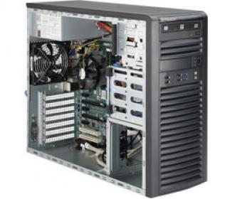 SYS-5038D-iF+ SuperServer MiniTower, 1 x INTEL LGA 1150, up to 32GB DDR3 RAM, 4 fixed drive bays, ports SATA 6G (RAID levels: 0,1,5.10), 2x GbE lan, video, 1xPCI-E (x8 in x16), (x8), IP-KVM, Black SYS 5038 Super Server Mini Tower 1150 32 GB DDR RAM bays levels 10 Gb lan video PCI (x 16 IP KVM xPCI 1xPCI x16
